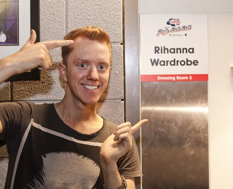 James Barr outside Rihanna's Jingle Bell Ball dressing room