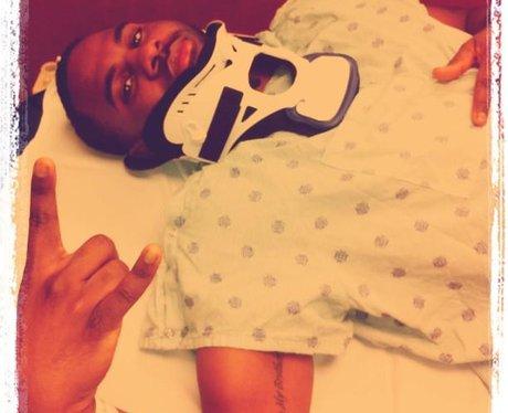 Jason Derulo wearing a neck brace
