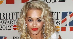 Rita Ora on the red carpet at the BRIT Awards 2012