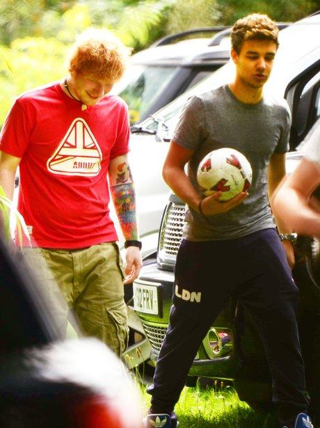 Ed Sheeran and Liam Payne play football together.