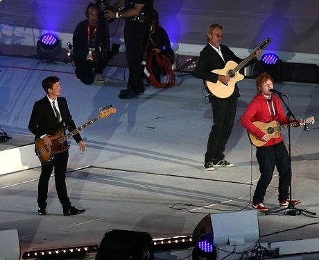 Ed Sheeran at the Olympics closing ceremony.