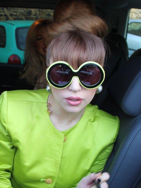 Lady Gaga wearing oversized sunglasses.
