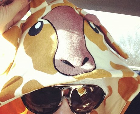Pink posts photo of herself with a giraffe hood