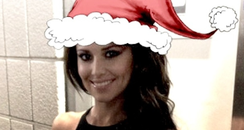 Cheryl Cole wearing santa hat