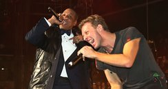 Rihanna, Jay-Z and Chris Martin perform in concert