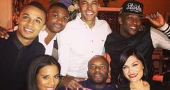 Jessie J, JLS and Rochelle Wiseman having dinner