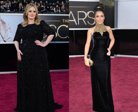 Adele and Salma Hayek at the Oscars 2013