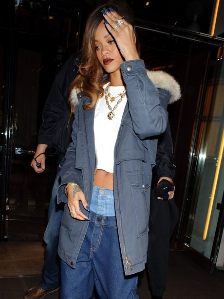 Rihanna wearing jeans from her River Island collection