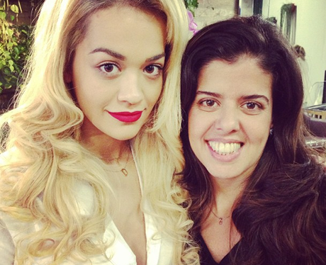 Rita Ora enjoying a new hair do