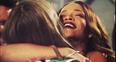 Rihanna and Cara hug