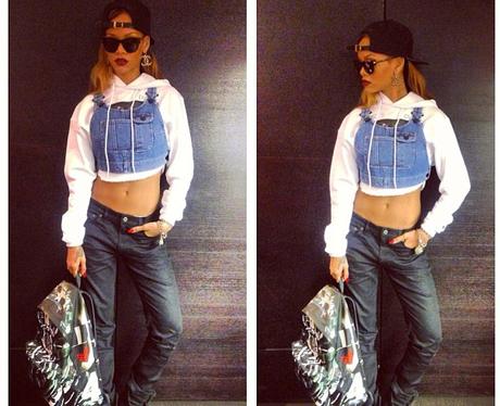 Rihanna wearing River Island denim