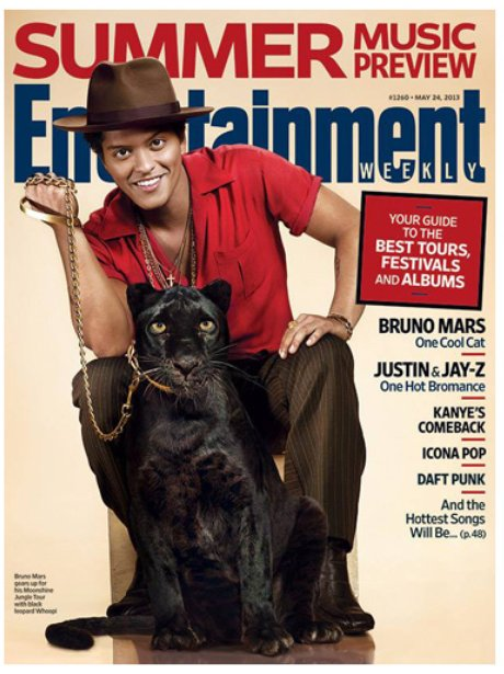 Bruno Mars on the cover of Entertainment Weekly in May 2013
