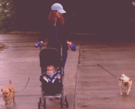 Una Healy walking her dogs
