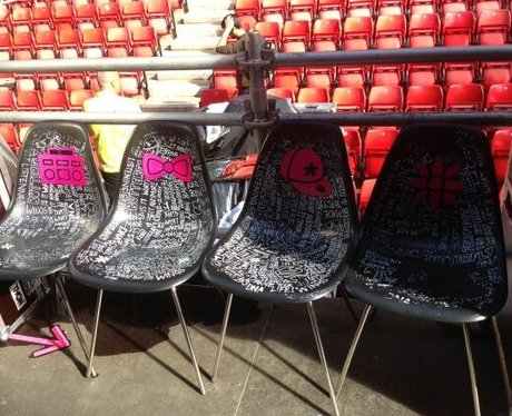 Little Mix's chairs backstage at North East Live