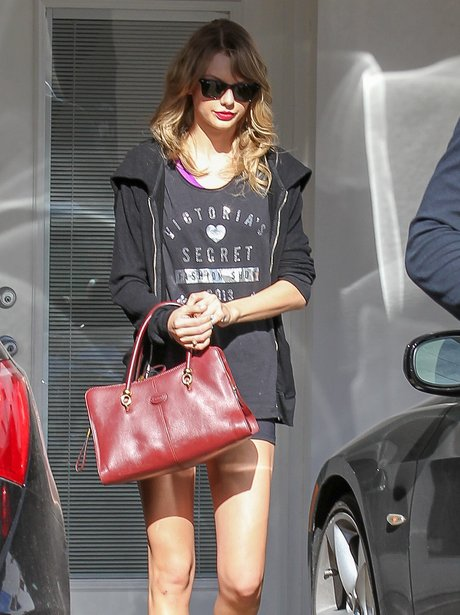 Taylor Swift leaving the gym wearing shorts
