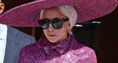 Lady Gaga wearing a sequin pink outfit