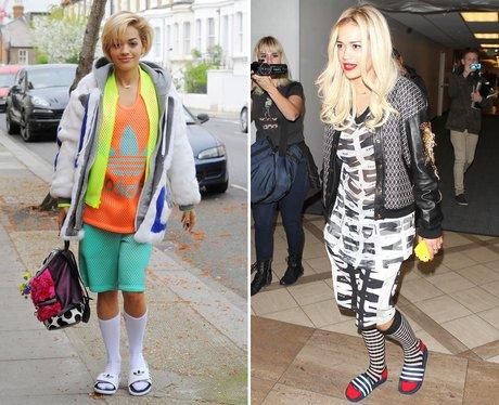 Rita Ora Socks and Sandals