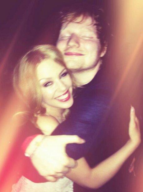 Ed Sheeran and Kylie hugging