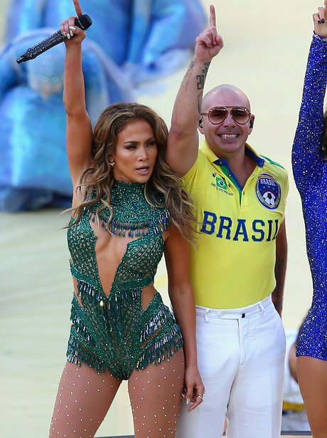 Jennifer Lopez and Pitbull perform at the World Cu