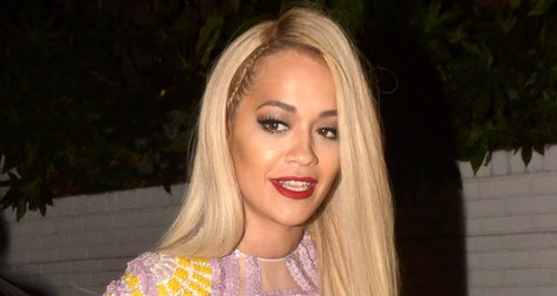 Rita Ora on a night out wearing platform shoes