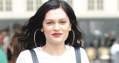 Jessie J wearing leather dungareese.