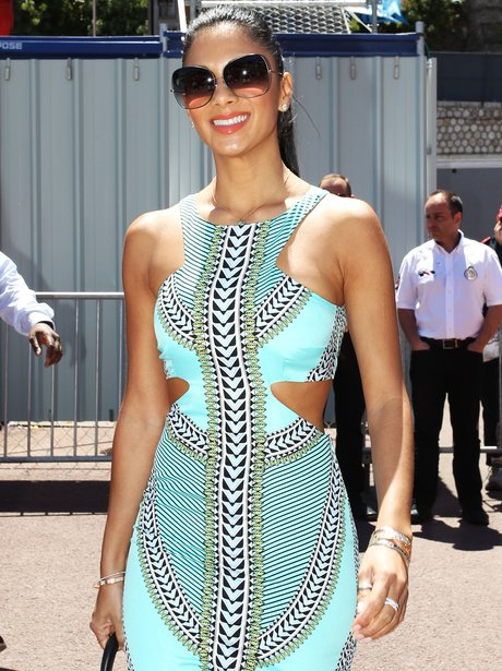 Nicole Scherzinger at Grand Prix in cut out dress