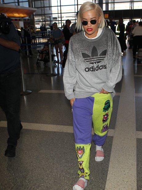 Rita Ora wearing a monster tracksuit