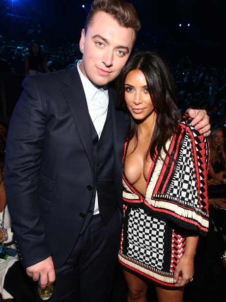 Sam Smith and Kim Kardashian at the VMAs 2014