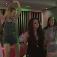 Little Mix and Jess Glynne in the studio behind th