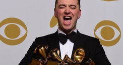 Sam Smith with his Grammy Awards 2015