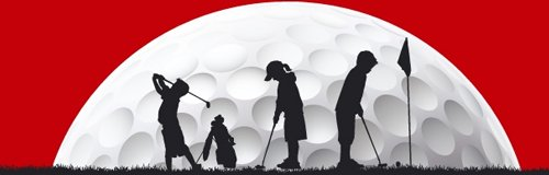 Children playing golf against a large golf ball