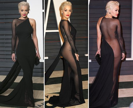 Rita Ora a sheer dress