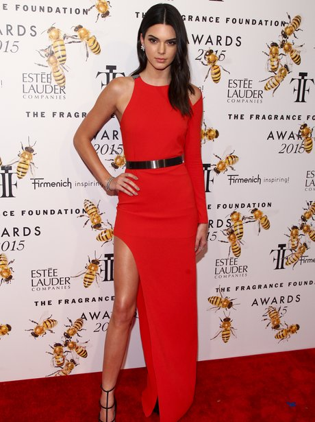 Kendall Jenner wearing a red dress