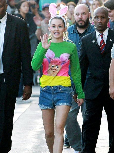 Miley Cyrus wearing bunny ears