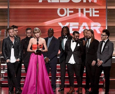 Calvin Harris congratulates Taylor Swift at Grammys