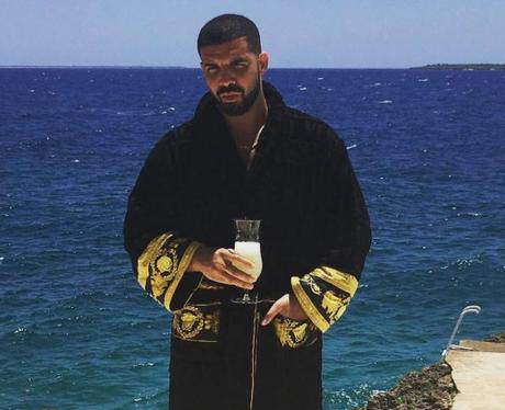 Drake wearing robe