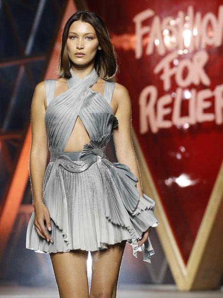 Bella Hadid walks in the Fashion for Relief runway